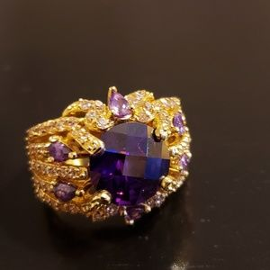 💕IMAN Amethyst & Gold Ring